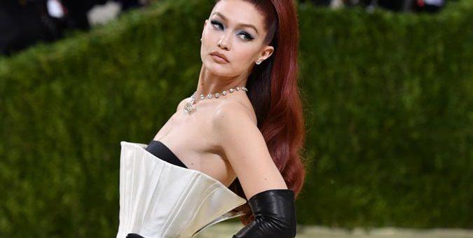 US model Gigi Hadid arrives for the 2021 Met Gala at the Metropolitan Museum of Art on September 13 2021 in New York. resize