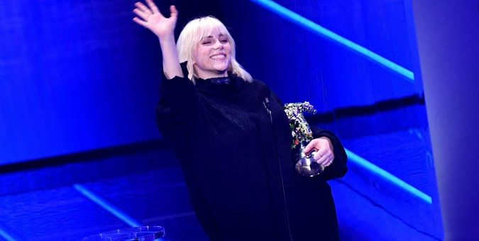 US singer Billie Eilish accepts the Video for Good award for Your Power on stage during the 2021 MTV Video Music Awards at Barclays Center in Brooklyn New York September 12 2021