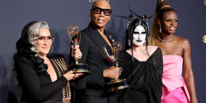 l r michelle visage rupaul gottmik and symone winners of the outstanding competition program award f 1632105816 4222