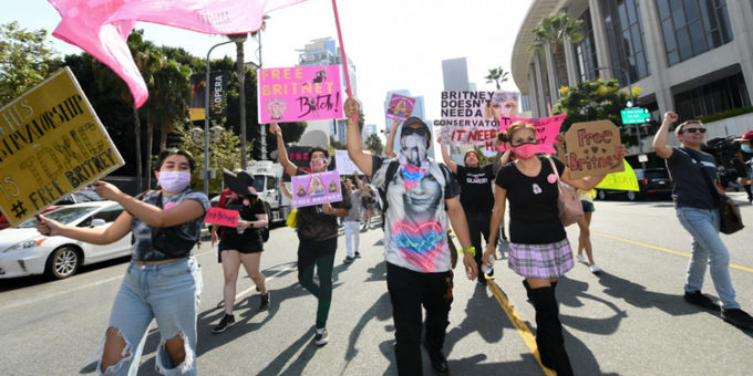 Fans of Britney Spears protest in front of the Stanley Mosk Courthouse during Britneys hearing to end her fathers controversial guardianship in Los Angeles California on September 29 2021. resize